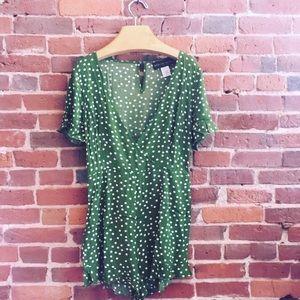 Green Polka Dotted romper